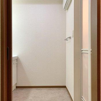 階段を下って脱衣所へ。ゆとりがありますね。