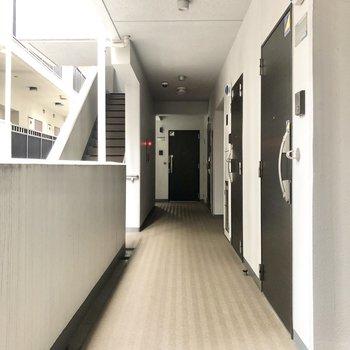 共用廊下。屋根もあって便利です。