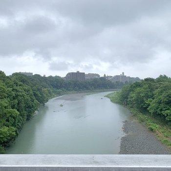 徒歩で東青梅駅に向かう途中に多摩川があります。