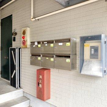 メールボックスは1階の階段下にありました。