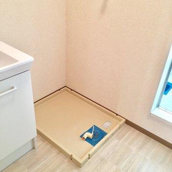 洗濯機はこちらに置けます。