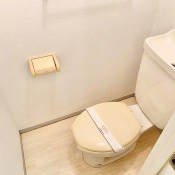 トイレの上には棚がついています。