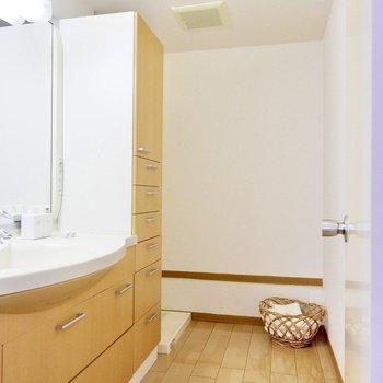 【下階】洗面所へ。奥が洗濯機置き場です。