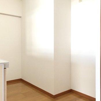キッチンスペースも広々つくられていました。手前には冷蔵庫がおけますよ