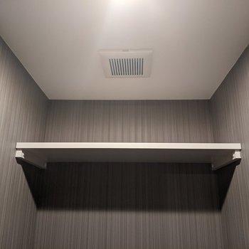 トイレ上には棚があります。トイレットペーパーや掃除道具を起きましょう。