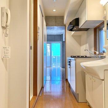 こちらのスペースが脱衣所兼キッチンとなります