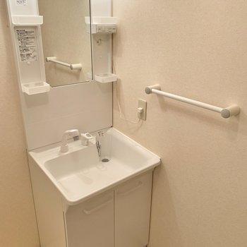 洗面台の蛇口はベッドが伸びるタイプです◎