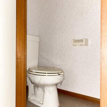タンク式のトイレ※写真は通電前・一部フラッシュ撮影をしています