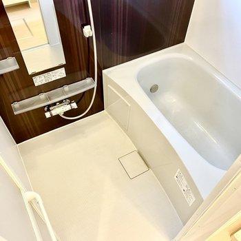 ゆったりとしたスペースで、鏡横のラックや、タオル掛けがあり機能性良好。
