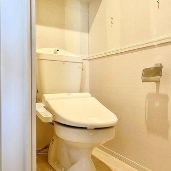 お手洗いは玄関前にあります。※写真はクリー二ング前のものです