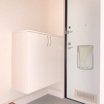 玄関はゆとりのある広さです。※写真は通電前のものです・フラッシュを使用しています。