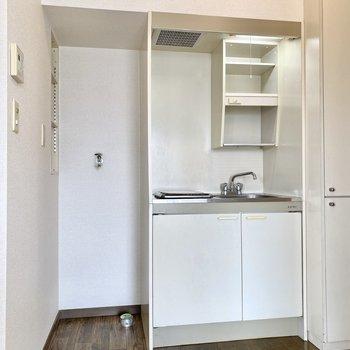 キッチンはシンプルなデザイン。左に洗濯機置き場がありますね。