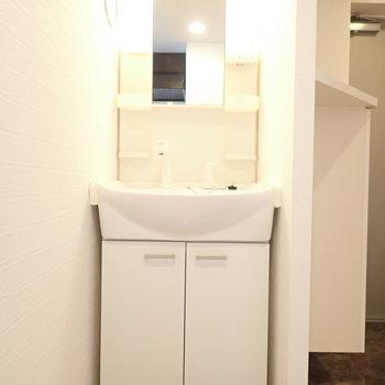 洗面台は玄関のとなり!出かける前にさっと身支度!