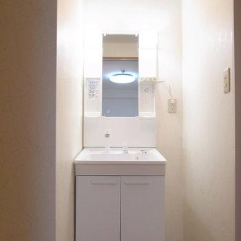 スリムな洗面台は、となりにラックを置けそうです。