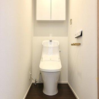 ぐっと奥行きのあるトイレ。