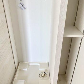 脱衣所に洗濯パン、右隣の棚にはタオルや洗剤などを。