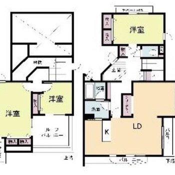 2階・3階を階段でつないだメゾネットのお部屋です!