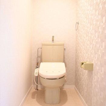 トイレでは上品なクロスがきらきらしています。
