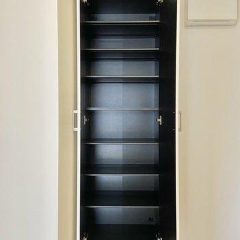 シューズボックスは可動棚になっています。一段に2足くらい入りそう。