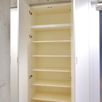 靴箱は右側の壁に。廊下側は天井近くまで高さのある可動式の収納。