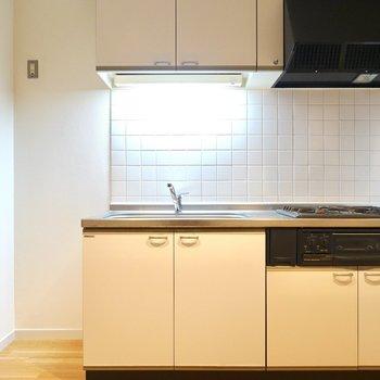 キッチンはシンプルなので、カッコよくしたいならパネルにコンクリ調のシートを貼っても良いかも。