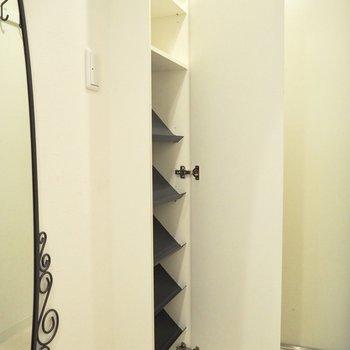 上部の棚には背の高い靴を入れることができそう※写真は4階の同間取り別部屋のものです