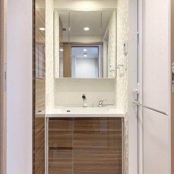 鏡面が収納になっていてすっきりと使えます。※写真は5階の同間取り別部屋のものです