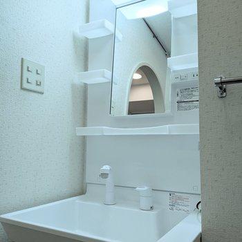 棚、コンセント付きの独立式洗面台です。