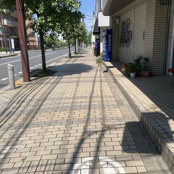 駅までの歩道は広いです。