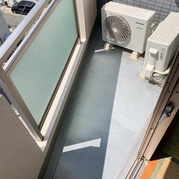 和室の隣にもバルコニー。ここは室外機を置くためのスペースといった感じ。