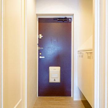 お部屋の最後は玄関を。ふたり同時に立てそうなタタキの広さです。