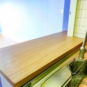 カウンターはちょっとしたテーブルや調理スペースとして重宝しそう。