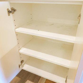 中は3段、1列に3足ほど靴が入りそうな大きさの扉が2つ。棚の高さは変えられるのでブーツなど大きな靴もしっかり収納できます。