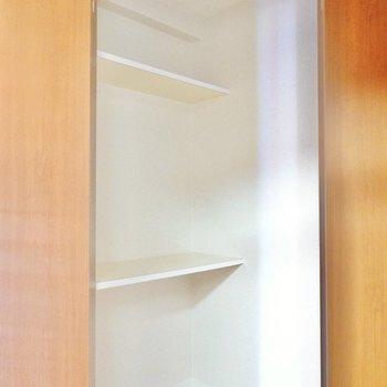 中は棚付きの収納。様々なモノを仕舞っておけます。 (※写真は9階の同間取り別部屋のものです)