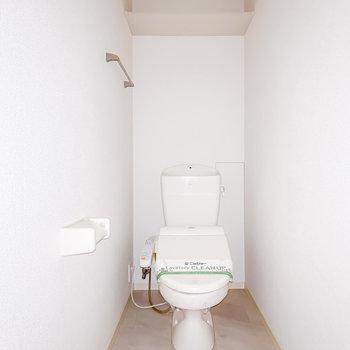 トイレにはウォシュレットも付いています。(※フラッシュ撮影です)