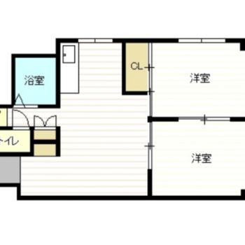 リビングは9帖、2つの洋室は6帖の広さです。