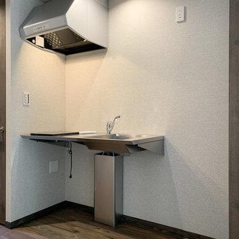 ステンレスキッチンに隣は冷蔵庫置き場です。