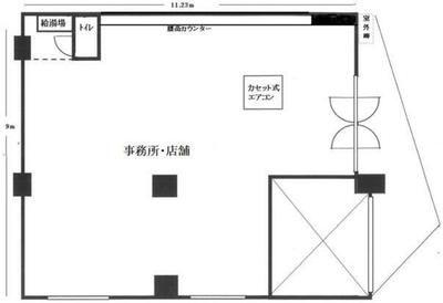 江戸川橋 27.52坪 オフィス の間取り