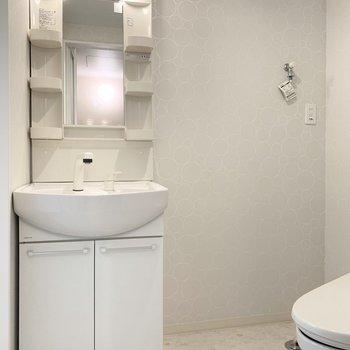 水廻りは一つの空間に。シャンプードレッサーと、お隣に洗濯機置場。(※写真は1階の同間取り別部屋のものです)