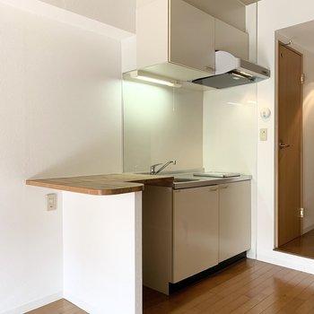キッチンはカウンター付。(※写真は2階の同間取り別部屋のものです)
