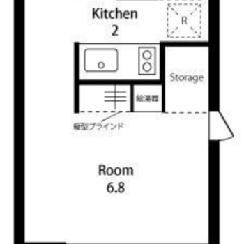 キッチンスペースと居室を分けた1R
