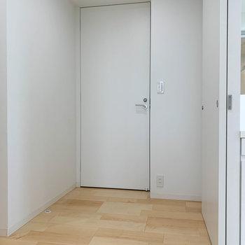 廊下へ。正面の白い扉が一つ目の玄関です。