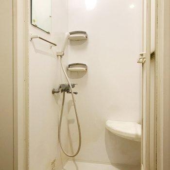 鏡付きシャワールーム。棚もあり使いやすそうです。