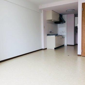 キッチンの横には冷蔵庫や食器棚が置けますね。