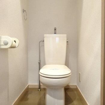 トイレはウォシュレットがありません。(※写真は3階の同間取り別部屋のものです)