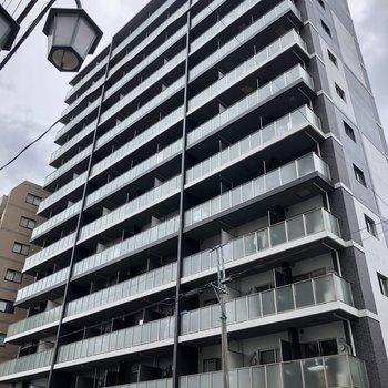 通り沿いに目立つ、大きなマンションです。