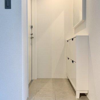 玄関には鏡が付いています。出掛ける前の最終チェックができますね。