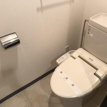 コンパクトなトイレ。ウォシュレットなどの機能もついてます。