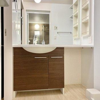 ナチュラルな雰囲気の洗面台。右下にはランドリーボックスなど置けそうなスペースが。