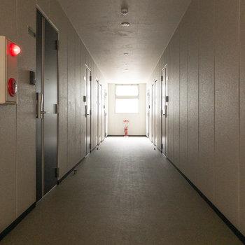 共用部です。一番奥に今回紹介するお部屋があります。